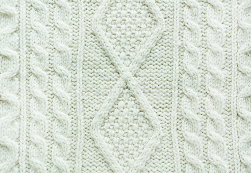 Tekstura trykotowy handmade Bożenarodzeniowy biały puloweru zakończenie up Tapeta, abstrakcjonistyczny tło zdjęcie royalty free