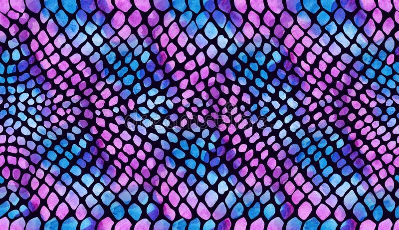 Tekstura wąż skóry menchii błękit na ciemnym tle w akwareli royalty ilustracja