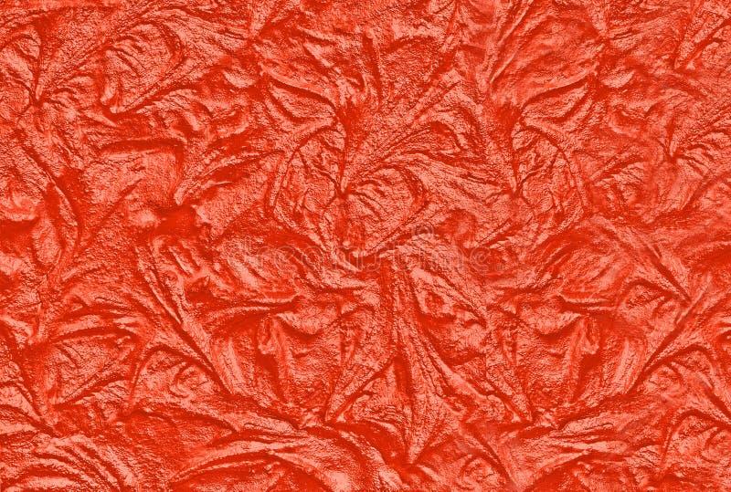 Tekstura z betonu falistego w modnym kolorze Lush Lava Tło ściany Stucco obrazy stock
