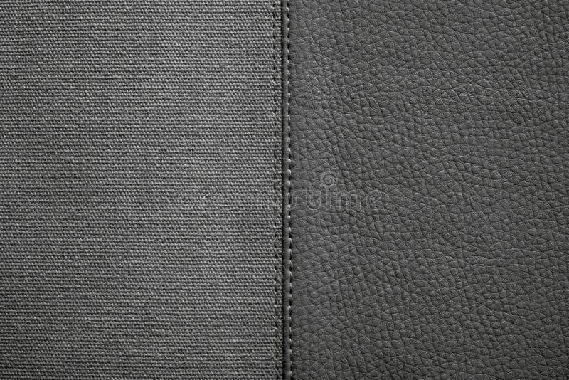 Tekstury czarny kolor od tkaniny i skóry obraz royalty free