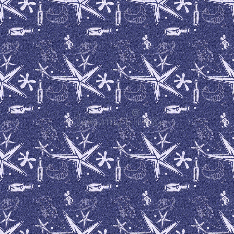 Tekstury lata butelek dennej gwiazdy skorupy i ryba błękitny bezszwowy wzór fotografia stock