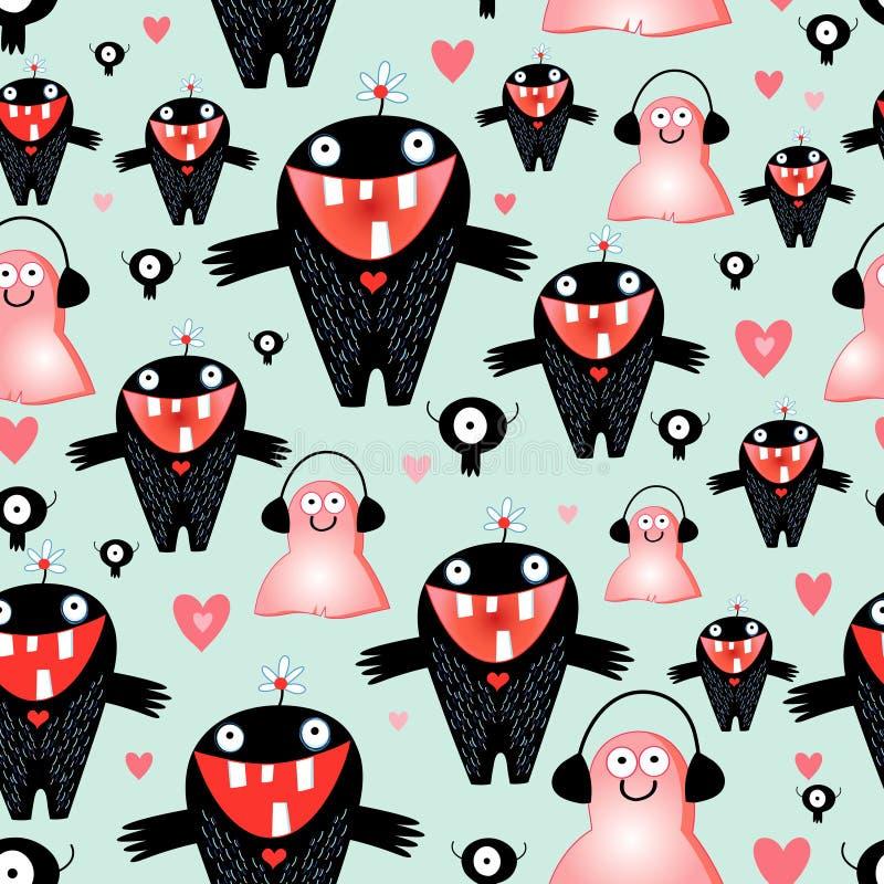 Tekstury miłości potwory ilustracja wektor