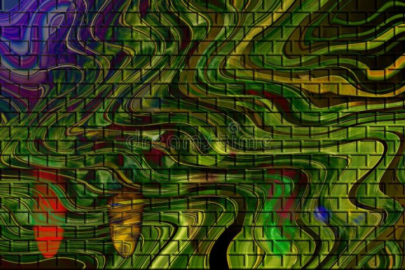 Tekstury zielony ceglany tło fotografia stock