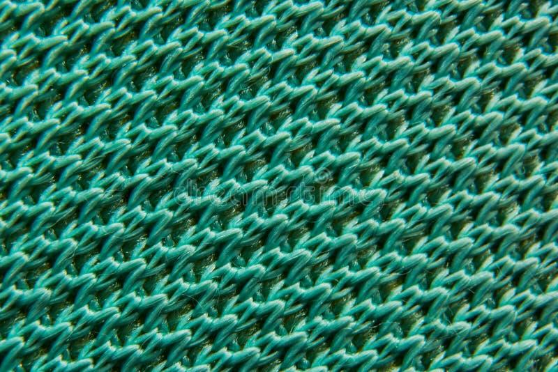Tekstury zielony włókno syntetyczny tkankowy makro- fotografia stock