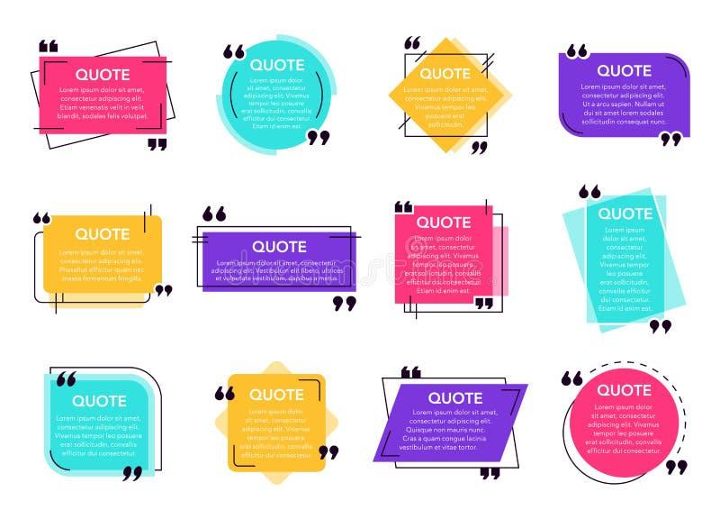 Tekstvak voor prijsopgave Het gecreeerde etiket van het dooskader, de dialoogdoos van de citaten van het sociale netwerk, opmerkt royalty-vrije illustratie