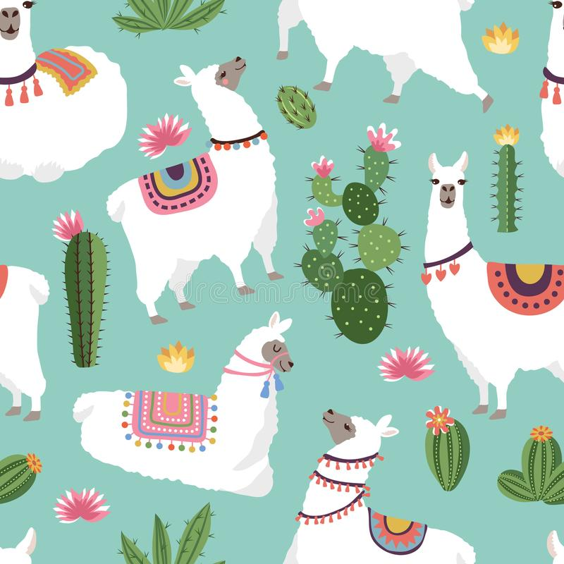 Tekstylnej tkaniny bezszwowi wzory z ilustracjami lama i kaktus ilustracja wektor