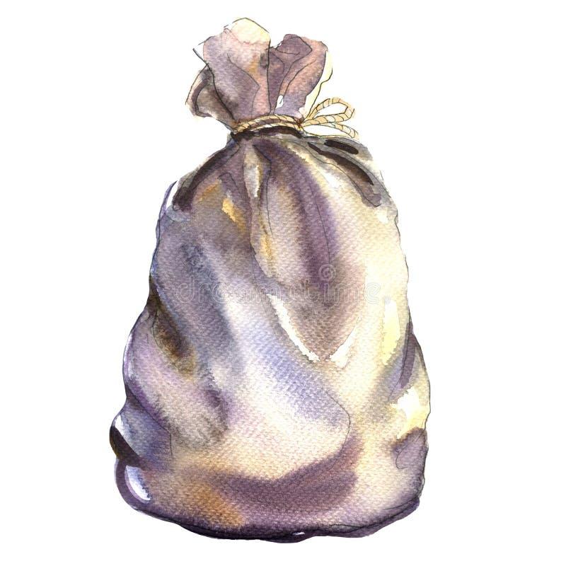 Tekstylny burlap worek, torba od grabić, odizolowywający, akwareli ilustracja ilustracja wektor