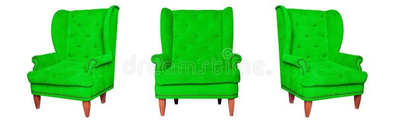 Tekstylny klasyk zieleni krzesło zdjęcie royalty free