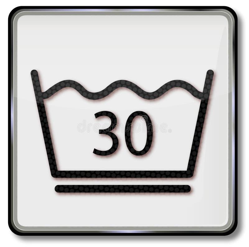 Tekstylny opieka symbolu obmycie do 30 stopni temperatury royalty ilustracja