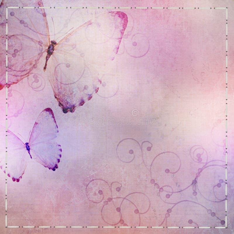 Tekstylny tło z motylem ilustracji