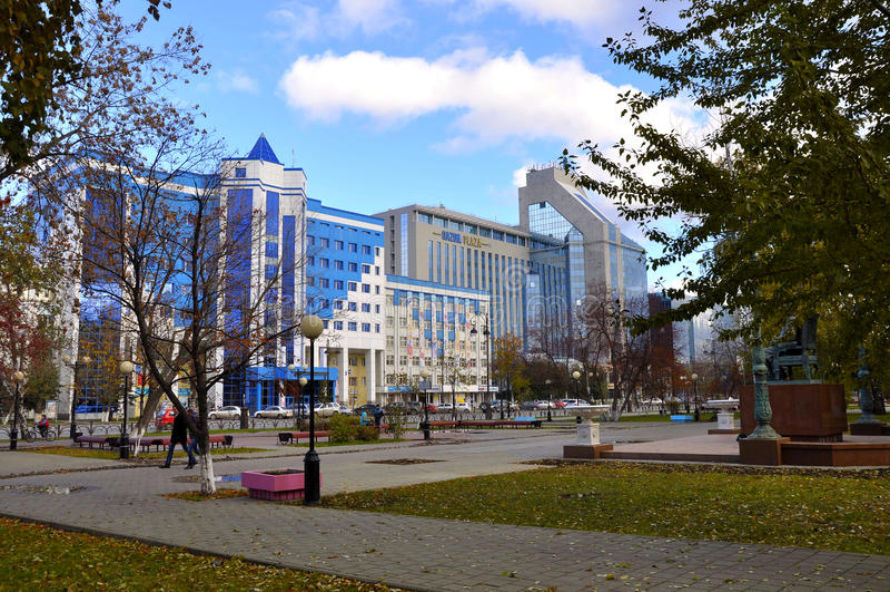 Tekutyevsky Boulevard. View of a modern office building. Tyumen stock photography