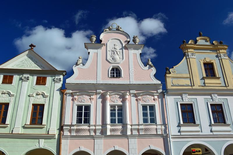 Gable Details in colourful Telc the main square Czech republic. Telč is a town in southern Moravia, in the Czech Republic. The most significant sight is the stock photo