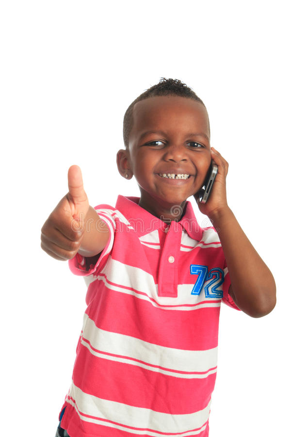 Teléfono 1 del negro del niño del afroamericano imágenes de archivo libres de regalías