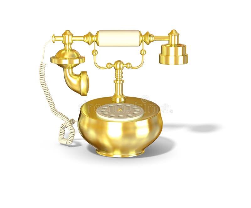 Teléfono antiguo del oro ilustración del vector