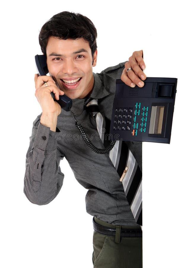 Teléfono asiático del hombre de negocios fotos de archivo libres de regalías