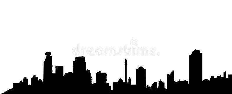 Teléfono Aviv Black Silhouette Vector stock de ilustración