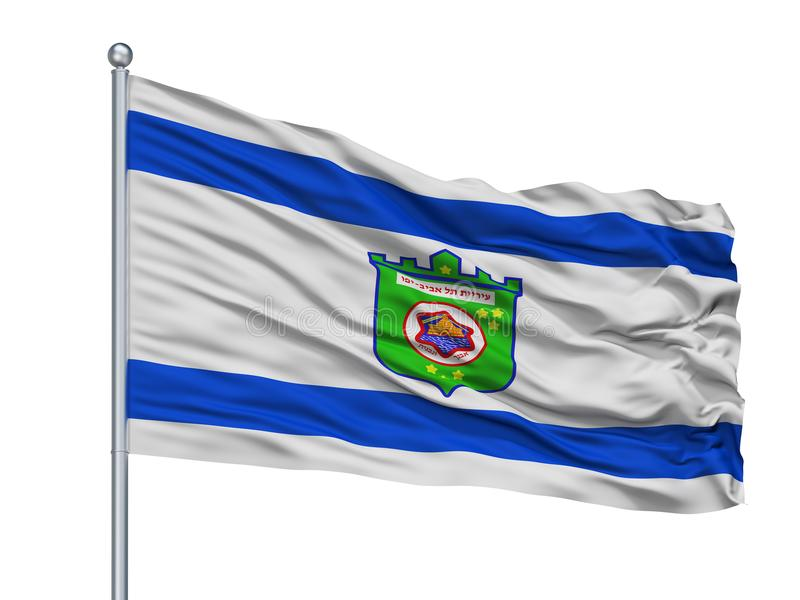 Teléfono Aviv City Flag On Flagpole, Israel, aislado en el fondo blanco stock de ilustración