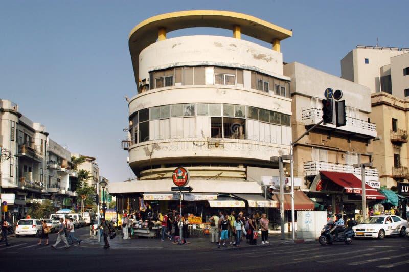 Teléfono Aviv Israel - calle de Allenby fotos de archivo
