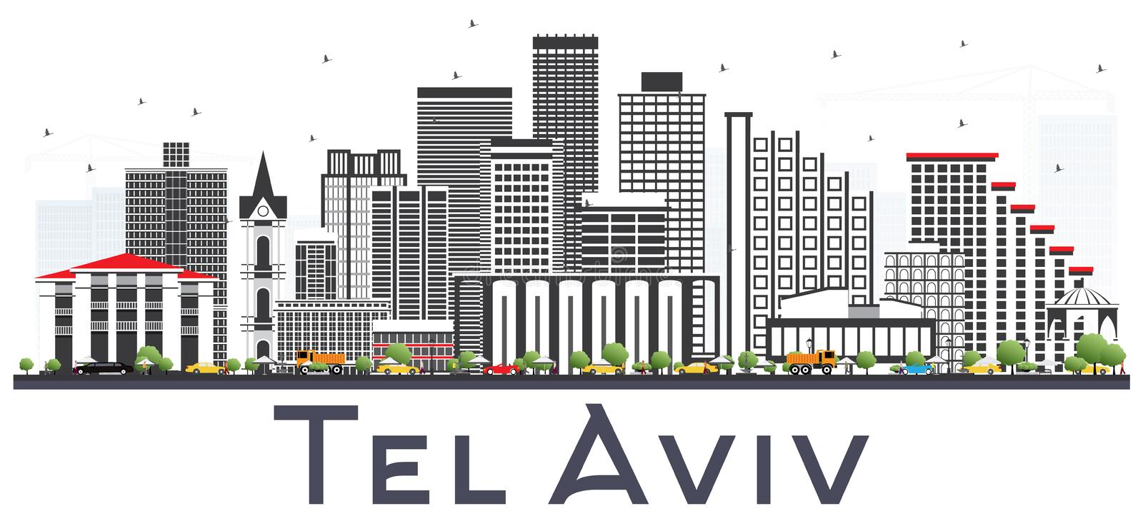 Teléfono Aviv Israel City Skyline con Gray Buildings Isolated en Whi ilustración del vector