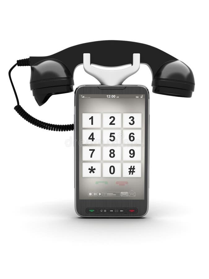 Teléfono celular con el receptor retro stock de ilustración