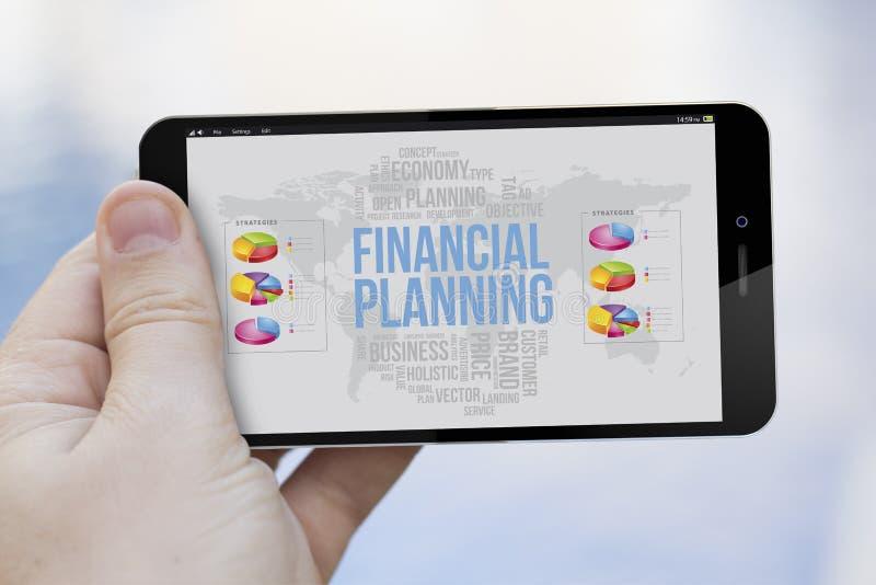 Teléfono celular de la planificación financiera fotografía de archivo libre de regalías