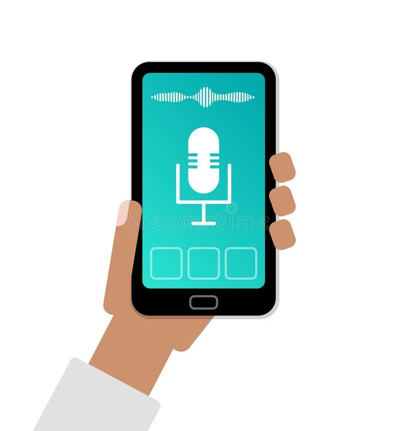 Teléfono celular de tenencia de la mano con el app del ejemplo plano auxiliar activado por voz personal stock de ilustración