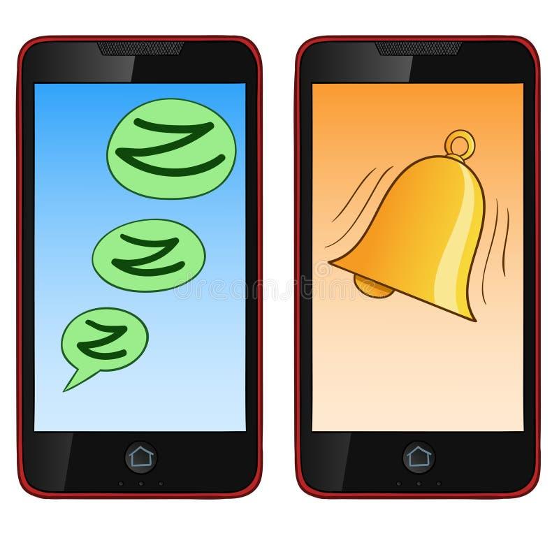 Teléfono celular del drenaje de la mano de la historieta en el modo dos stock de ilustración