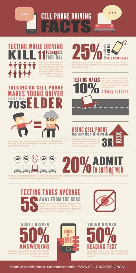 Teléfono celular que conduce los hechos Infographics stock de ilustración