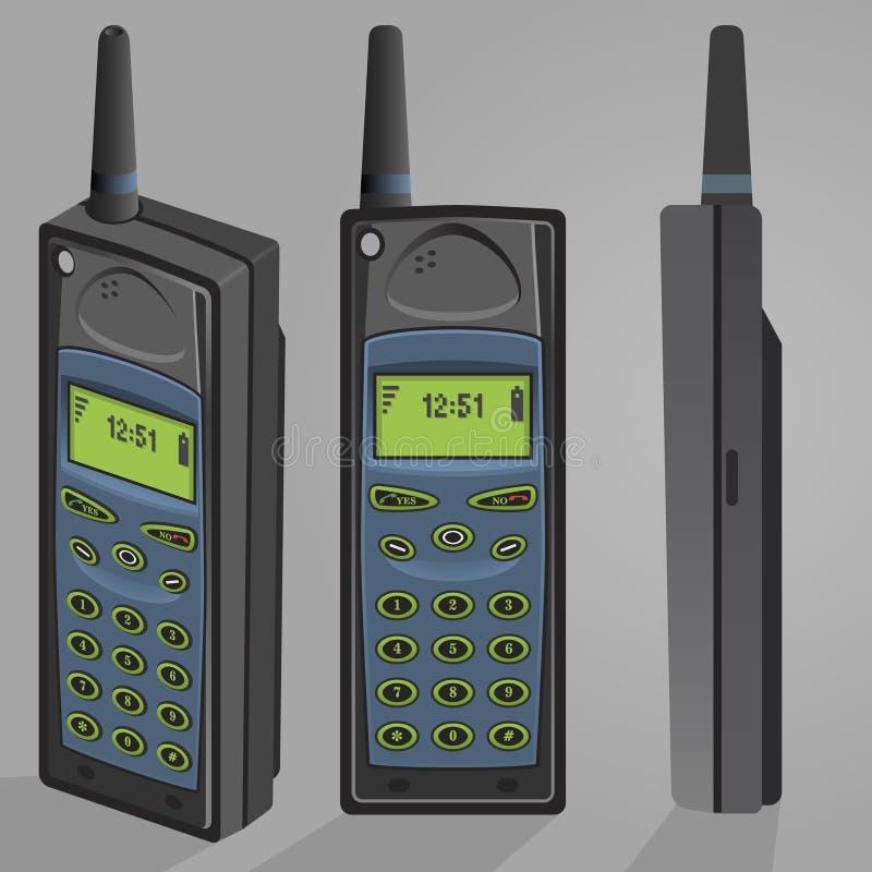 Teléfono celular retro del vintage de la alta opinión de perspectiva detallada 80s stock de ilustración