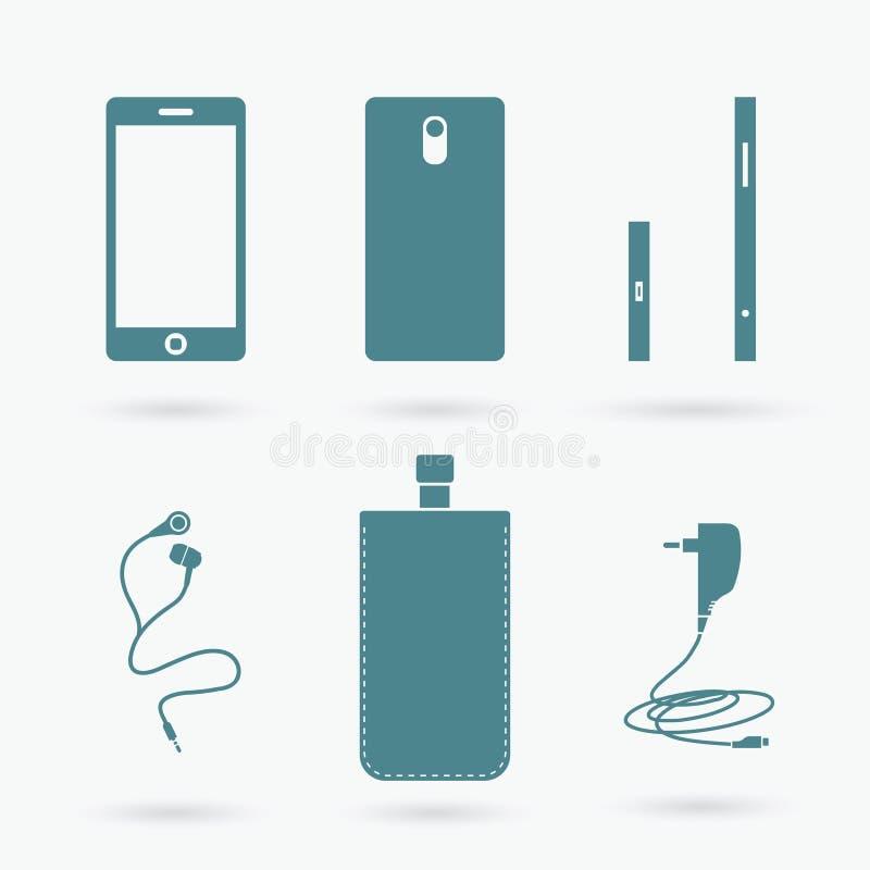 Teléfono celular y accesorios ilustración del vector