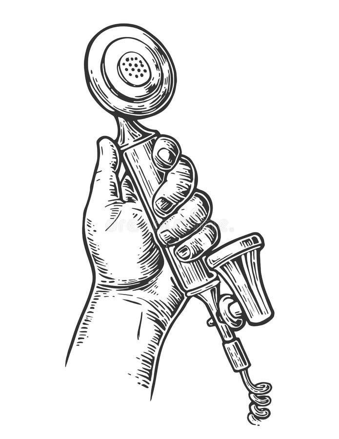 Teléfono clásico retro en la mano masculina Aislado en el fondo blanco Vintage dibujado grabando el ejemplo stock de ilustración