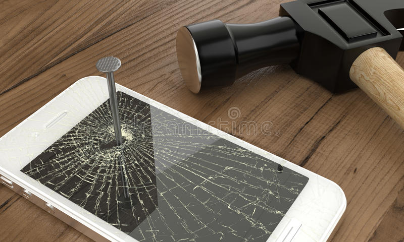 Teléfono clavado a la tabla con el martillo fotos de archivo