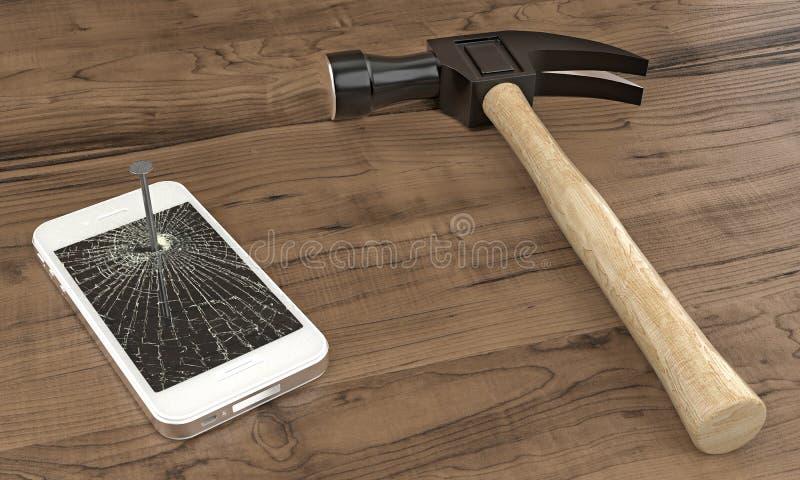 Teléfono clavado a la tabla con el martillo imagen de archivo libre de regalías