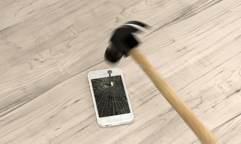 Teléfono clavado a la tabla con el martillo imagen de archivo