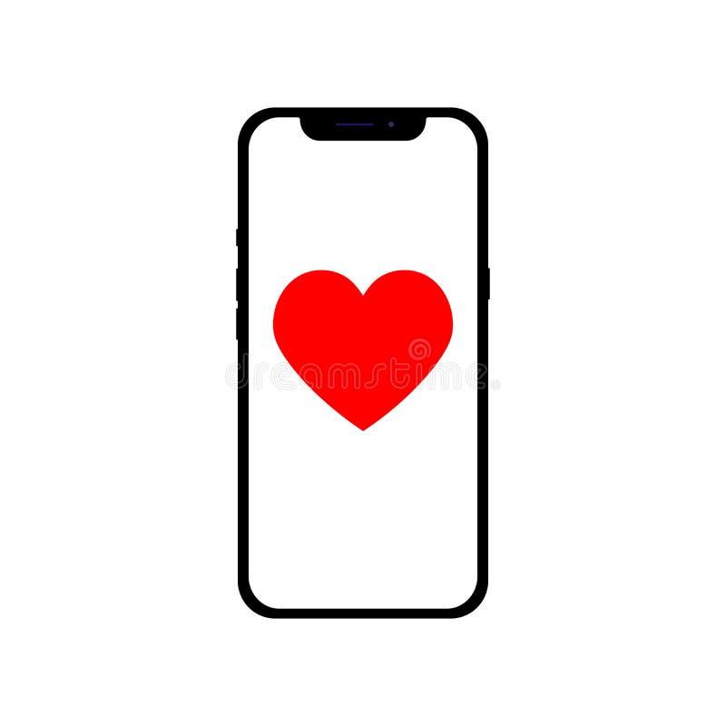Teléfono con el corazón del icono para diferentes fines, ejemplo infographic del diseño plano ilustración del vector