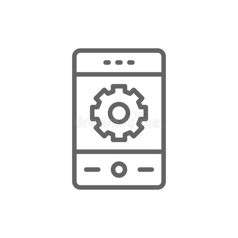 Tel?fono con el engranaje, reparaci?n del smartphone, l?nea m?vil icono del desarrollo ilustración del vector