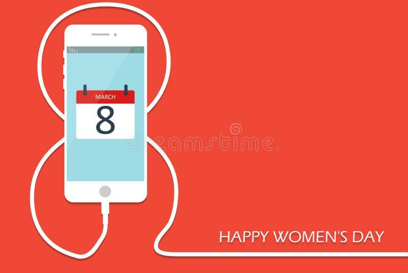 Teléfono con la línea ocho alambre Esquema carga del smartphone del 8 de marzo, tarjeta internacional del día del ` s de las muje ilustración del vector