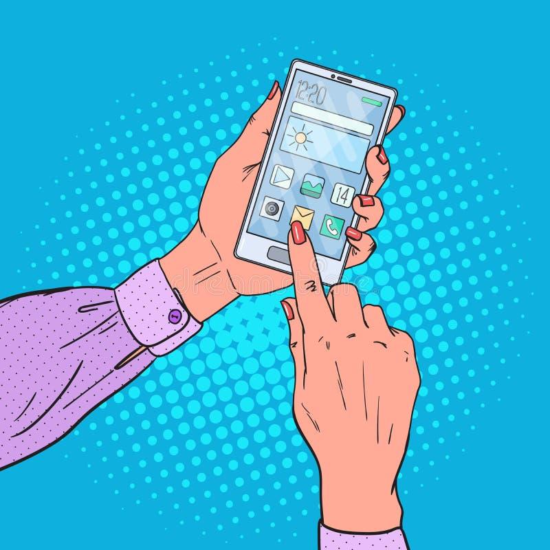 Teléfono de Art Woman Hands Using Smart del estallido Tecnologías móviles ilustración del vector