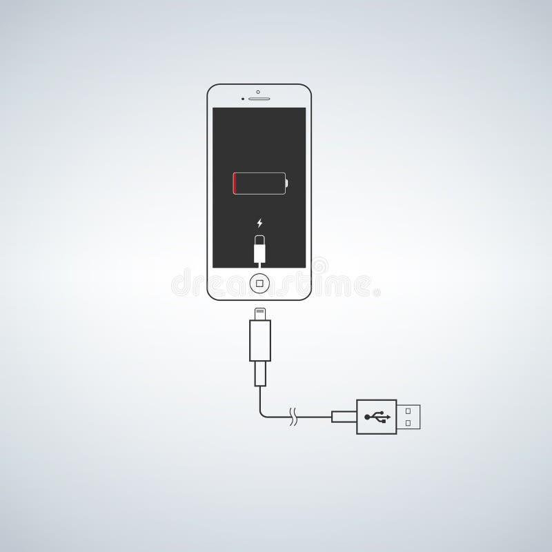 Teléfono de carga, cable de carga libre illustration