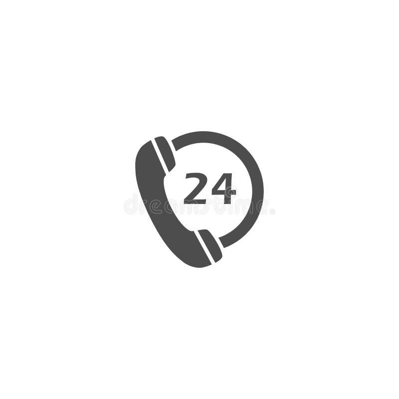 Teléfono de dial, 24 horas del servicio de icono negro del vector ilustración del vector