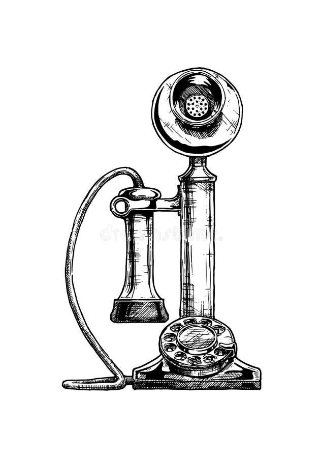 Teléfono de la palmatoria del vintage stock de ilustración