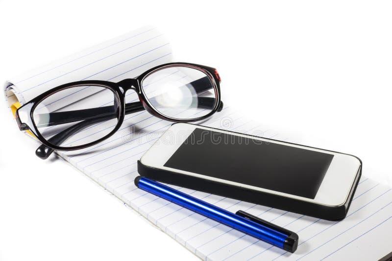 Download Teléfono De La Pluma Del Cuaderno De Los Vidrios Imagen de archivo - Imagen de negocios, arreglo: 41910543