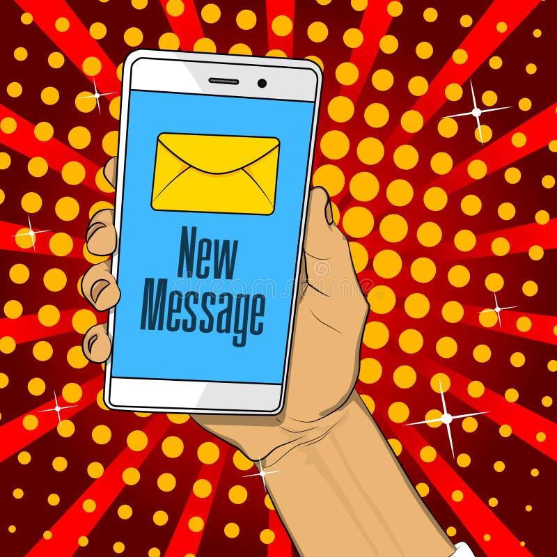 Teléfono de la tenencia de la mano con la letra y nuevo texto de mensaje en la pantalla ilustración del vector