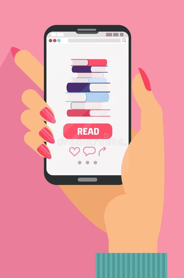 Teléfono de la tenencia de la mano con los iconos de la agencia de viajes, concepto de reservación en línea Opción entre un día d stock de ilustración