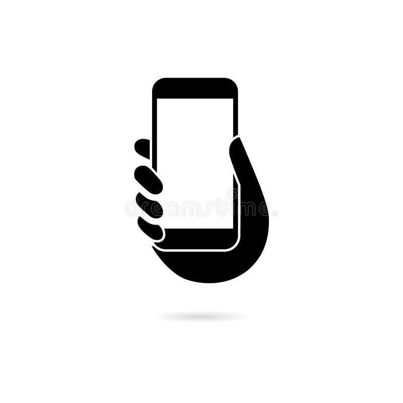 Teléfono de la tenencia de la mano negra, icono del teléfono de la tenencia de la mano o logotipo stock de ilustración