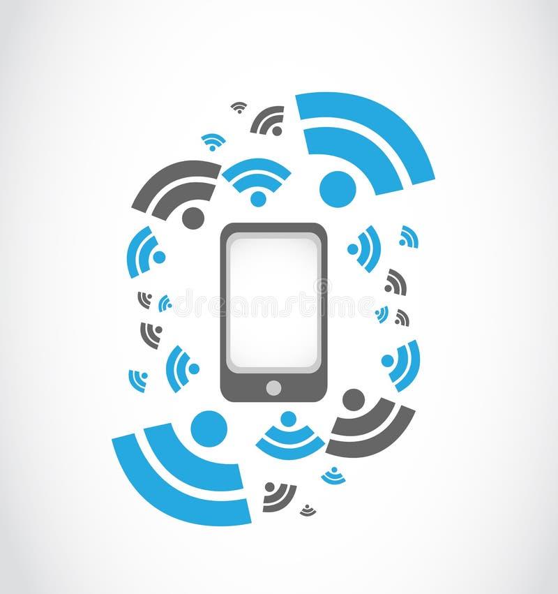 Teléfono de mobil de la red inalámbrica stock de ilustración