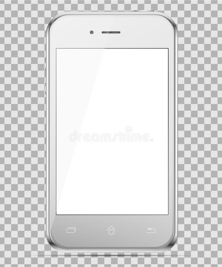 Teléfono de plata móvil aislado en un fondo del transparancy Para presentar su uso ilustración del vector