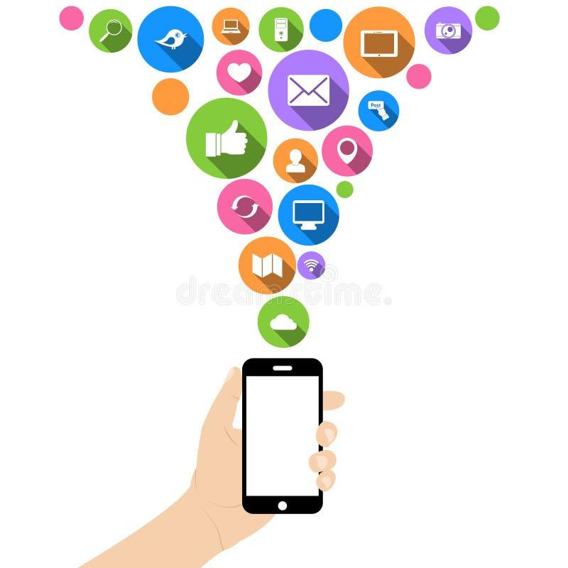 Download Teléfono Del Control De La Mano Con Los Iconos Ilustración del Vector - Ilustración de mensaje, visualización: 42436008