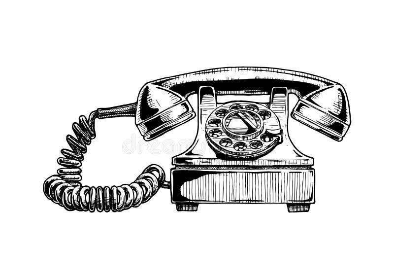 Teléfono del dial rotatorio de los años 40 stock de ilustración