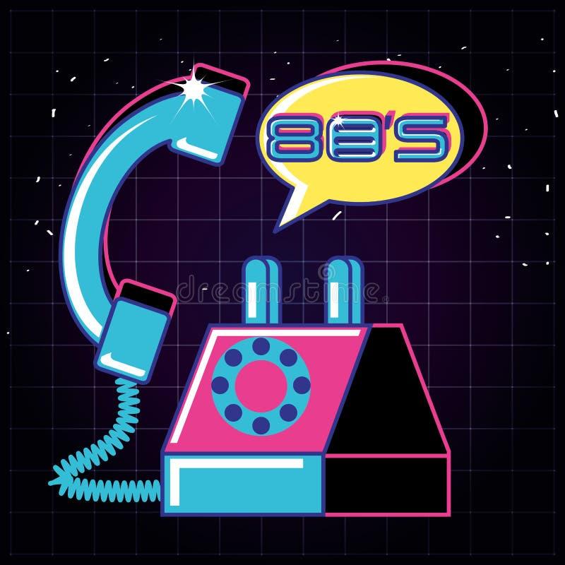 Teléfono del icono aislado retro de los años ochenta libre illustration